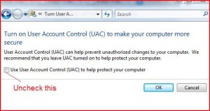 uncheck uac checkbox - How to disable UAC