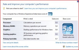 Dell Studio XPS 16 Performance Rating in Windows VISTA - 5.5