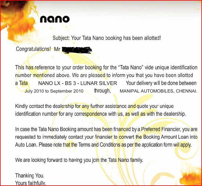 TATA Nano allotment letter